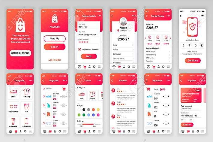 120764715-set-of-ui-ux-gui-screens-shopping-app-flat-design-template-for-mobile-apps-responsive-website-wirefr